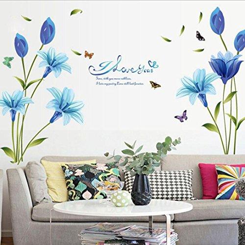 Dragon868 adesivi murali azzurro fiori fai da te adesivi murali cameretta cucina salotto home decor (azzurro)