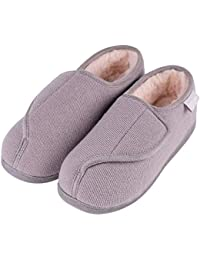0ea64284b85 LongBay Women s Furry Memory Foam Diabetic Slippers Comfy Cozy Arthritis  Edema House Shoes