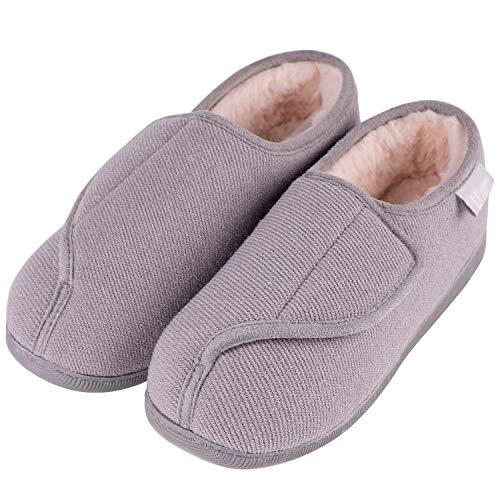 96faecfcb LongBay Women s Furry Memory Foam Diabetic Slippers Comfy Cozy Arthritis  Edema House Shoes Grey 6 UK