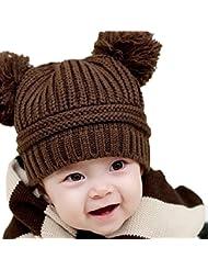 Tongshi Bebé lindo de la muchacha del muchacho para niños de doble bolas caliente del invierno hizo punto el casquillo del sombrero de la gorrita tejida(Café)