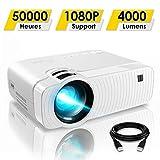 Mini Vidéoprojecteur, ELEPHAS 4000 Lumens Projecteur Portable Soutien 1080P Rétroprojecteur Compatible USB/HD/SD/AV/VGA pour Home Cinéma, Durée de Vie Jusqu'à 50000 Heures, Blanc