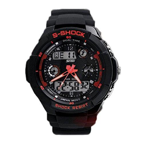 zolimx Multifunción S-Shock LED analógico Reloj Digital alarma resistente al agua (rojo)
