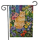 WOAIXI Bandiera del Giardino Cortile Gatto Animale Stampa Bandiere Benvenuto Festival Domestico Bandiera Appesi Indoor Outdoor Patio Home Decor Prato Puntelli