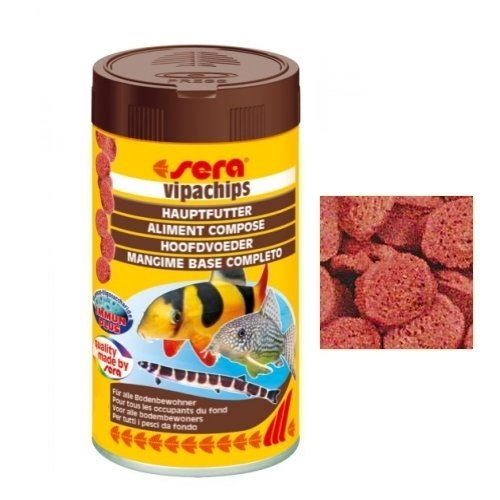 Sera vipachips Das Hauptfutter aus sinkenden Chips für Alle Bodenbewohner im Aquarium, 100 ml (Tabletten Iu 90)