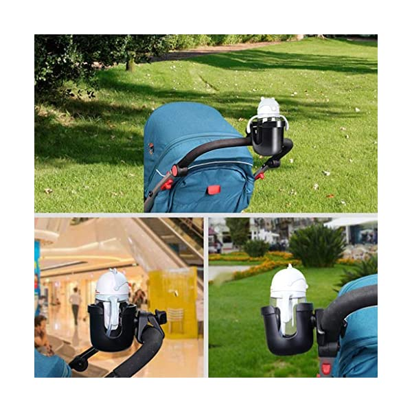 Universal Cup Holder Bottle Holder 360 Degrees Rotation for Baby Stroller, Bicycle, Wheelchair, Walker, Trolleys Perfeclan The cup holder itself nicely holds your travel cup without any fear of falling out Environmental protection plastic material, durable and lightweight, no harm to babies. Easy to install and take apart, will not spend you much time. 9