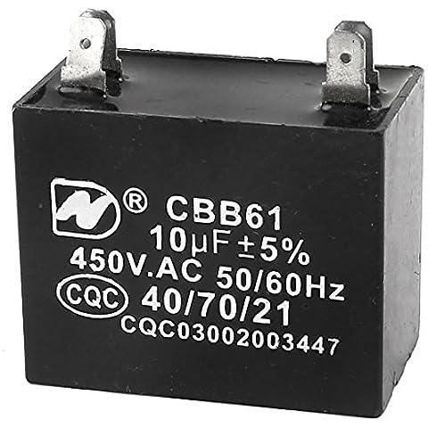 AC 450V 10uF acondicionador de aire del ventilador de inicio Película de Polipropileno Condensador