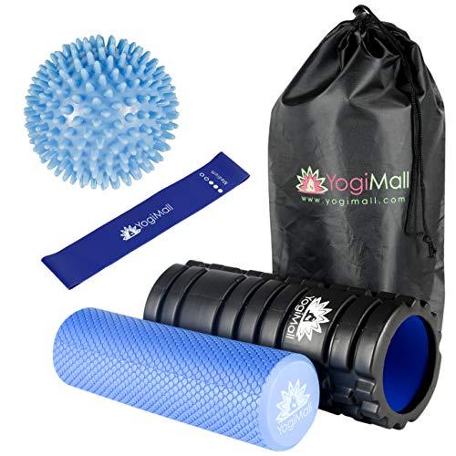 YogiMall Schaumstoffrolle gesetzt und Tragetasche hoch, perfekte Selbstmassage Werkzeuge für zu Hause, Gymnastik & Yoga Blau
