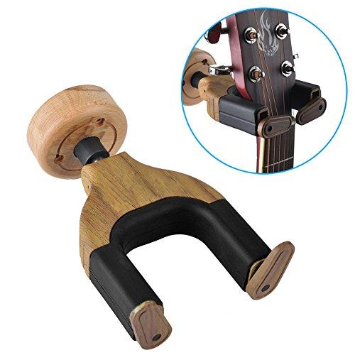 Guitar Hanger, KUYOU Perchas de guitarra de madera Auto Locked Mantener gancho Soporte de montaje en pared para todas las guitarras de tamaño