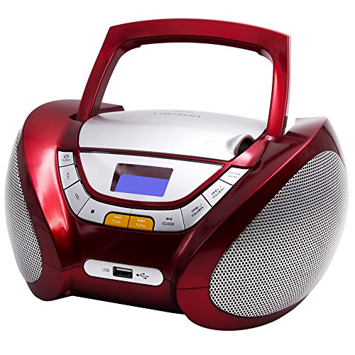 Lauson CP442 CD-Radio mit CD MP3 USB Player Tragbares Kinder Radio Boombox tragbarer CD Player, Rot