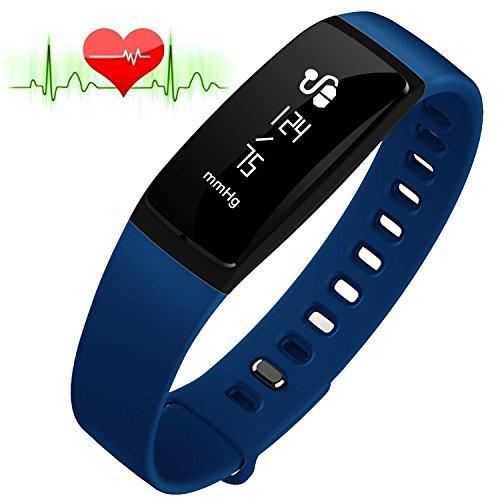 RIVERSONG®Fitness Tracker Monitor de Frecuencia Cardiaca Pulsera de Presión Arterial Reloj Sedentario Alarma de Control de Sueño SNS Pedal de Recordatorio de Llamada Actividad Deportiva Pulsera Saludable con Pantalla Táctil OLED Smart Watch para Android iOS Smartphones (AZUL)