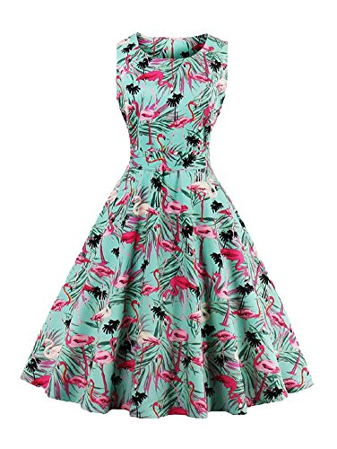 Minasan Vintage Elegant Summer Women's Floral And Animal Pattern Print Embroidered Casual Retro A Line Dress Pleated Skirt S