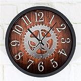 LKOPSLA Im europäischen Stil Wanduhren Wohnzimmer Runde Uhren Große ruhige Kreative Wanduhr Kunst Tischuhr im Amerikanischen Stil Quarzuhr-Wand Uhr (Farbe: C, Größe: 20 cm)