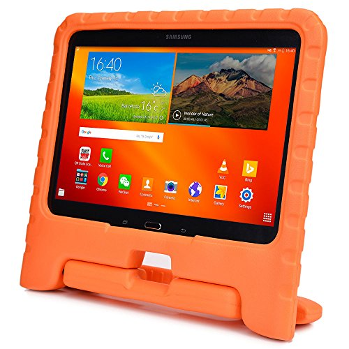 Samsung Galaxy Tab 4 10.1, Tab 3 10.1 custodia per bambini, COOPER DYNAMO Resistente custodia protettiva paraurti per uso intenso per bambini con manico incorporato, supporto e proteggi schermo gratuito (Arancio)
