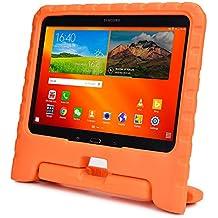Funda Infantil Cooper Cases (TM) Dynamo para Samsung Galaxy Tab 4 10.1 & 3 10.1 en Naranja + Protector de Pantalla gratuito (Ligera, absorción de impactos, Espuma EVA segura para los niños, Asa incorporada, y soporte para visionado)