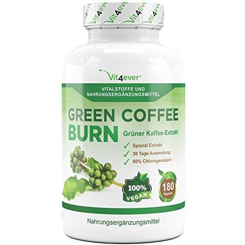 Green Coffee Bean Burn - 50% GCA - 30 Tage Tur - 180 Kapseln vegan - Extra stark - Hochdosierter Grüner Kaffee Bohnen Extrakt - Ergänzung während der Diät & Gewichtsreduktion - Vit4ever