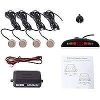 Cocar Coche Auto Vehículo Visual Reserva Radar Sistema con 4 Estacionamiento Sensores + Distancia Info Vídeo Salida + Sonido Advertencia (Champán Color)