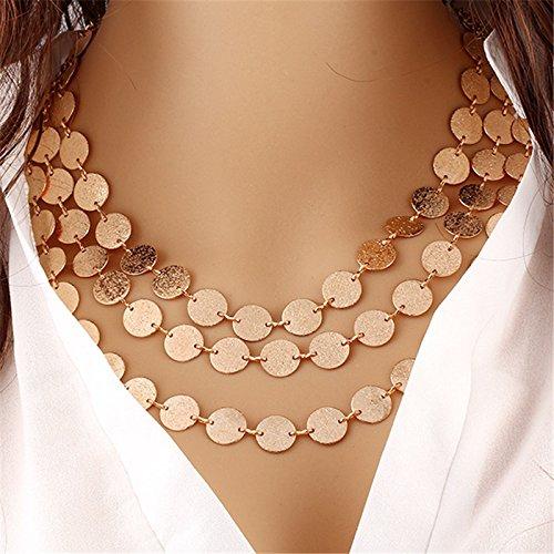 Zorux Mode Goldm¨¹nze Ketten & Anh?nger Personality-Strickjacke-Kette lange Halskette Gliederkette Frauen Schmuckgeschenke [Gold]
