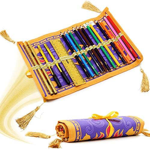 Disney Aladdin Gefüllte Federmäppchen Schreibwaren Rolle Fliegender Teppich Design 17-teiliges | Kunstfarbset für Kinder Geschenkidee ab 3 Jahren