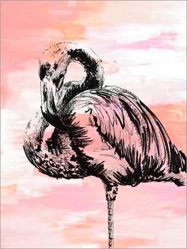 Leinwandbild 60 x 80 cm: Flamingo von Dominique Fischer - fertiges Wandbild, Bild auf Keilrahmen,...
