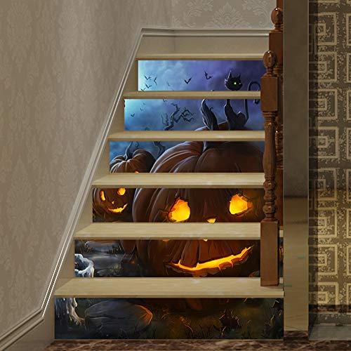 Balight 3D Halloween Kürbis Schwarze Katze Treppenaufkleber Selbstklebend Abnehmbare wasserdichte Treppenaufkleber Wohnkultur 39,3 & amp; & amp; & amp; x7 & amp; & amp; x6Pcs