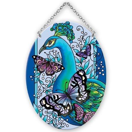 Joan Baker Pfau mit Schmetterlinge Oval 13,3x 17,8cm Glas Suncatcher Oval Baker