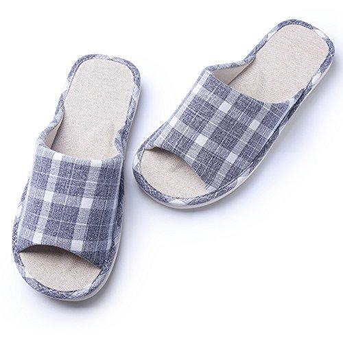 KENROLL Anti-Rutsch-Leinen Baumwoll-Hausschuhe für Damen Soft Bequeme Feuchtigkeit Wicking Flachs Indoor Home Hausschuhe für Herren Grau