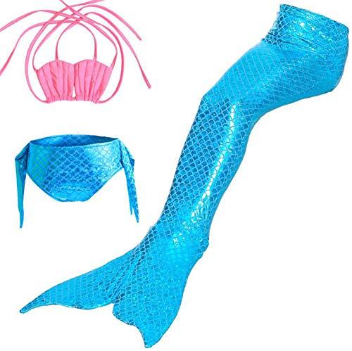 AMhuui Mädchen Badeanzug Meerjungfrau Schwanz Schöne Swimmable Kostüm Bikini Sets für das Geschenk der Prinzessin (3 - Blue Mermaid Kostüm