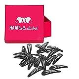 HAARallerliebst Haarspangen (20 Stück   schwarz   4,9 cm) geriffelt für mehr Halt inkl. Schachtel zur Aufbewahrung (Schachtelfarbe: pink)