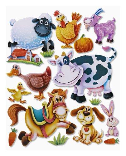Stickerkoenig Wandtattoo 3D Sticker Wandsticker - niedliche Tiere auf dem Bauernhof Kuh, Pferd, Hund, Hase, Ziege etc #512 Kinderzimmer Deko auch für Wände, Fenster, Schränke, Türen etc auf Bogen (Pferd Hund Tier)