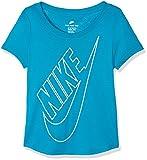Nike Girls 'Sportswear T-Shirt T-Shirt de Sport, Filles S Multicolore - Turquoise Fluo/Or (Neo Turq/MTLC Gold Star)