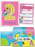 6 Einladungskarten zum 2. Kindergeburtstag pink incl. Umschläge / bunte Einladungen zum Geburtstag für Mädchen