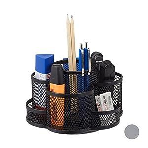 Relaxdays Stiftehalter, Metallgeflecht, 7 Fächer, drehbar, rund, kompakt, für Büro, Stiftebox f. Pinsel, Schere, schwarz