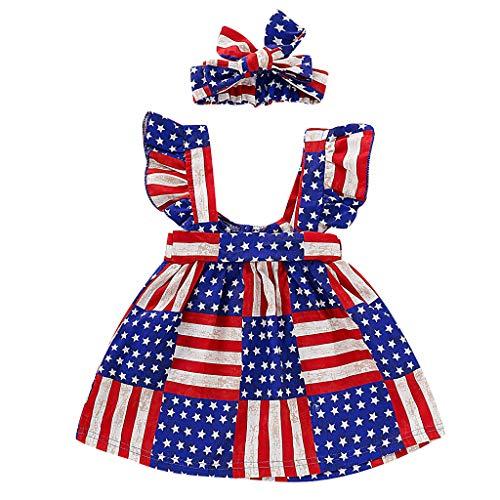 Mitlfuny Maedchen Audrey 1950er Vintage Hepburn Kleid Prinzessin Ballett Tutu Rock Party,Kleinkind scherzt Baby 4. Juli-gestreifte rückenfreie Kleid-Stern-Ausstattungs-Kleidung