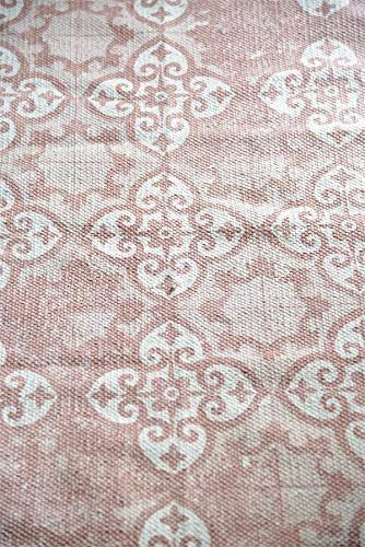 Jeanne d´Arc living Teppich Dusty Flower Läufer Brücke Cream - Dusty Rose Galerie JDL 60x90 Shabby Carpet ... -