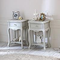 Preisvergleich für Melody Maison Elise Grau Sortiment–Möbel Bundle, Paar mit Schublade Ein Lampe Tische