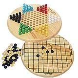 Toys of Wood Oxford Juego de Damas Chinas y Gobang (Cinco en una Fila) - Juego de Mesa Familiar 2 en 1 - Juegos de Mesa de 6 años