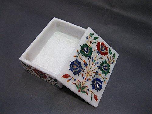 12,7x 8,9x 5,1cm rettangolare marmo multiuso Trinket Box, pietre semi preziose gioielli in pietra dura
