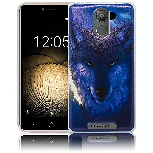 bq Aquaris U / bq Aquaris U Lite / bq Aquaris U Plus Nacht Wolf Handy-Hülle Silikon - staubdicht, stoßfest & leicht - Smartphone-Case thematys