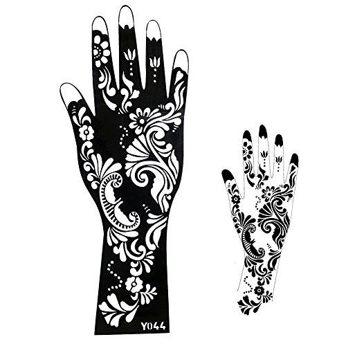 Mehndi Schablone Henna Designs zur einmaligen Verwendung Y044 für Hand und Arm, geeignet auch für Glitter Tattoo und Airbrush Tattoo (Armee Design)