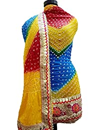 NS Creation Women's Art Silk Bandhini Gota Patti Daaman Border Suit With Same Work Border In Crep Bottom (SN-184...