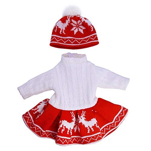 Glory.D Pullover-Set mit Schneeflocken-Muster, Puppenkostüm 45,7 cm, passend für American Girl Today Puppen, Pullover, Rock und Beanie