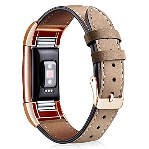 For Charge 2 Strap, Wearlizer Lux Genuine Leather Replacement Bands