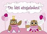10 Einladungskarten Eulen PrinzessinDu bist eingeladen + 2 Geburtstagskarten 1145-10+1111+1109