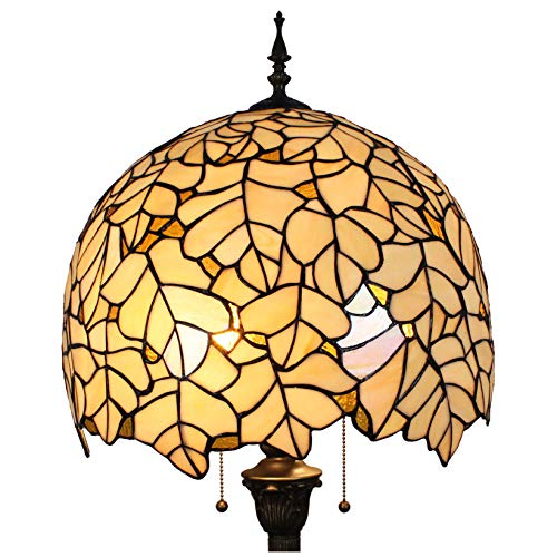 Tiffany Stil Hohe 64-Zoll Blätter Glasmalerei Bodenleuchte Leselampe -