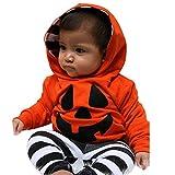 Baby Jungen Mädchen Langarm Kürbis Karikatur Kapuzenpullover Sweatershirt Tops und Gestreift Hosen Set Halloween Kostüm Verkleidung Karneval Party von Innerternet