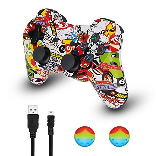 PS3 Controller Wireless Dualshock Joystick – klno Bluetooth Gamepad-Achsen-, Super Power, USB Ladegerät, 6-Achsen, Dualshock3, 1 Kabel mehrfarbig Graffiti medium