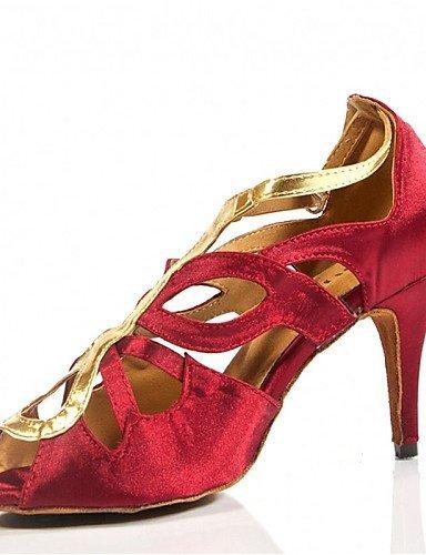 ShangYi Chaussures de danse(Noir / Rose / Rouge) -Personnalisables-Talon Personnalisé-Satin-Latine / Jazz / Salsa / Samba / Chaussures de Swing Red