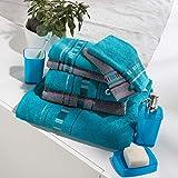 Frottier Handtuch-Set Frottier-Set - 2 Handtücher, 1 Duschtuch, 2 Gästetücher, 2 Waschlappen - beidseitige Schlaufen - strapazierfähig - voluminös - türkis/grau - 100% Baumwolle - 500g/m² -