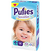 Pufies Sensitive Talla 4+, 9-16 kg - 50 Pañales