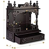 """Aakaar Idols & Temples, Wall Hanging, Handcrafted Wooden Temple/Mandap/Pooja Mandir/Home Temple Without Doors - 18"""" VO Without Dome for Home & Office"""